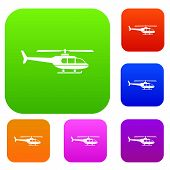 Military helicopter set icon in different colors isolated vector illustration. Premium collection poster