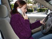 young woman talking on her cell while driving her car poster