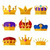 Golden crowns of kings, prince or queen. Vector illustrations set in cartoon style. Gold luxury crown for princess and royalty queen poster