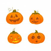 Set of cute, funny Halloween pumpkin jack-o-lanterns - smiling, surprised, scary, grinning, cartoon vector illustration isolated on white background. Set of cartoon Halloween pumpkin lanterns poster