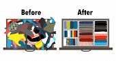 Before and after tidying up kids wardrobe in drawer. Messy clothes and nicely arranged clothes in boxes inside the drawer. Vector illustration. Cleaning and organizing after Marie Kondo method poster