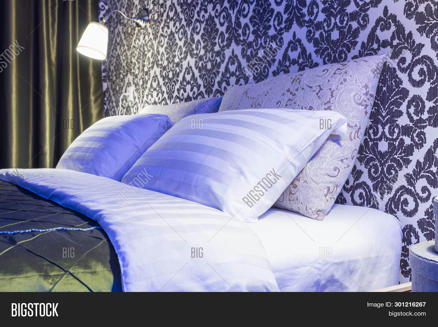 Double Bed Pillows Image Photo Free Trial Bigstock