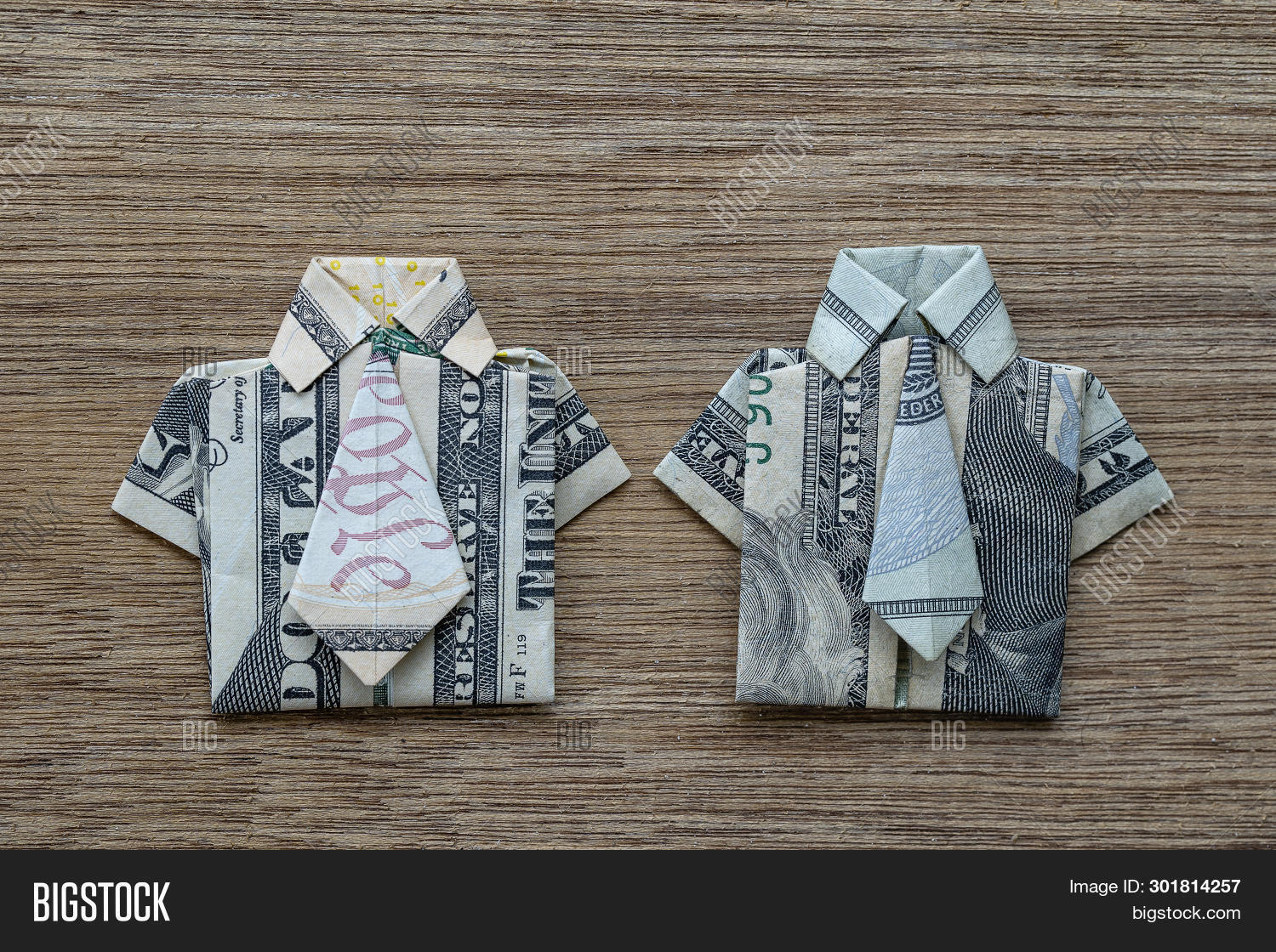 Money Origami Shirt and Tie Folding Instructions | 1120x1500