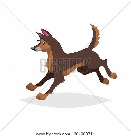 Cute Cartoon Brown Dog Running. Pet Animal Jumping. Flat With Simple Gradient Illustration. Farm She