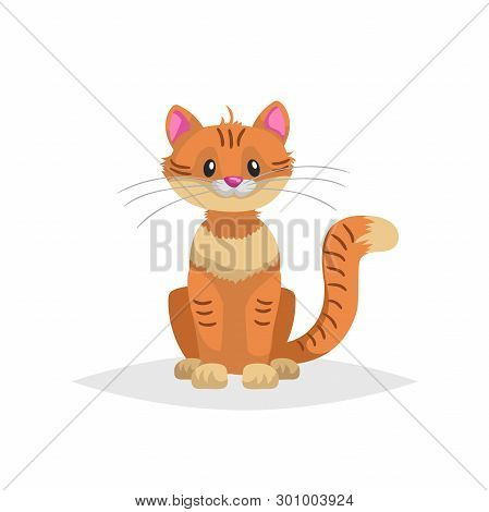Cute Red Cartoon Cat Sitting. Domestic Ginger Farm Animal. Pet Drawing. Flat Comic Style. Ideal For