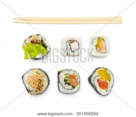 Top View Of Sushi Isolated On The White Background