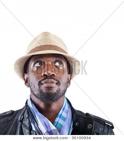 Young black man with stylish clothes looking up - isolated over white background.