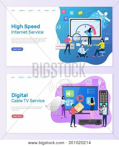 Digital Cable Tv Service Vector, People With Screen Of Television And Remote Controller, High Speed