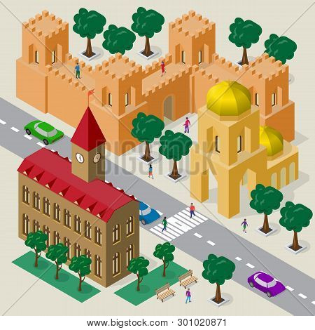 Vector Cityscape In European Style. Set Of Isometric Buildings, City Hall, Church, Fortress Wall Wit