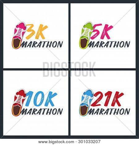 Set Of Banners. 3k, 5k, 10k And 21k Marathon Run Event With Sneakers. Vector Illustration.