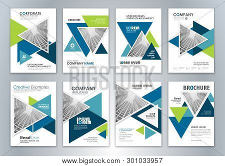Set Of Annual Report Brochure Flyer Design Template. Leaflet Cover Presentation Abstract Background