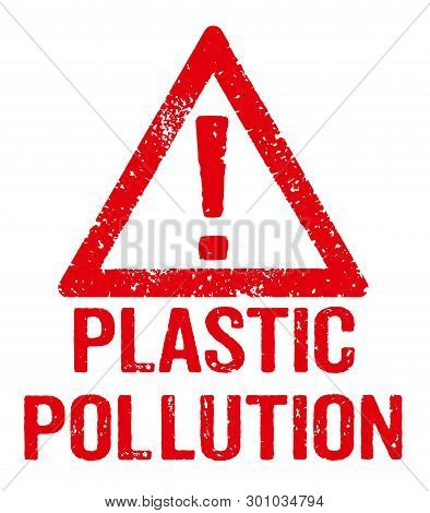A Red Stamp On A White Background - Plastic Pollution