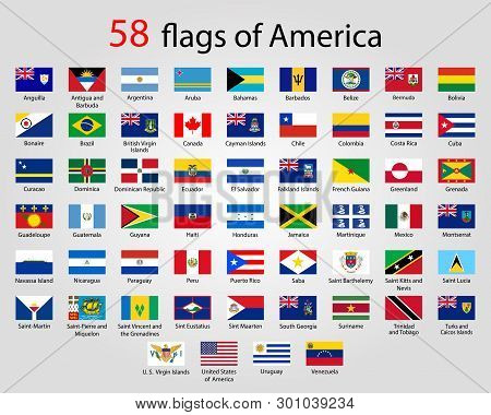 Flat Round Flags Of America - Full Vector Collectionvector Set Of American Flag Icons:north America,