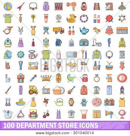 100 Department Store Icons Set. Cartoon Illustration Of 100 Department Store Icons Isolated On White