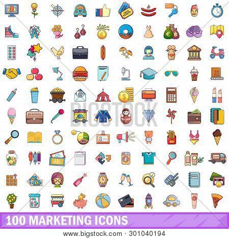 100 Marketing Icons Set. Cartoon Illustration Of 100 Marketing Icons Isolated On White Background