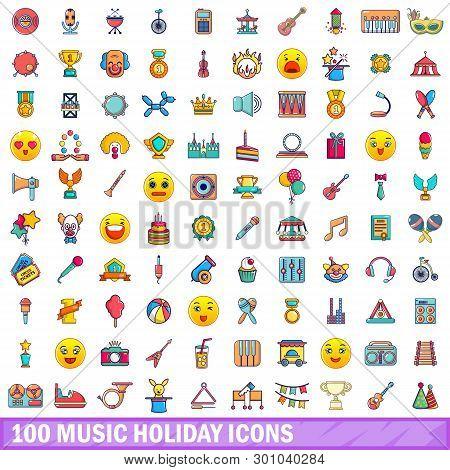 100 Music Holiday Icons Set. Cartoon Illustration Of 100 Music Holiday Icons Isolated On White Backg