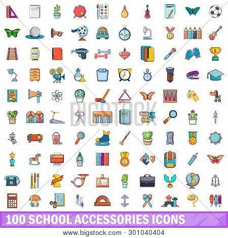 100 School Accessories Icons Set. Cartoon Illustration Of 100 School Accessories Icons Isolated On W