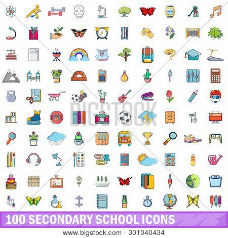 100 Secondary School Icons Set. Cartoon Illustration Of 100 Secondary School Icons Isolated On White