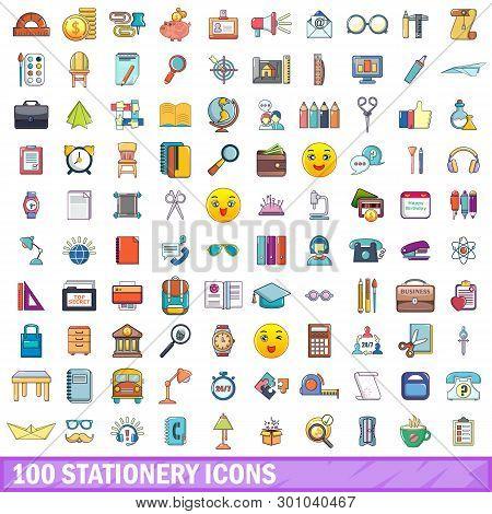 100 Stationery Icons Set. Cartoon Illustration Of 100 Stationery Icons Isolated On White Background