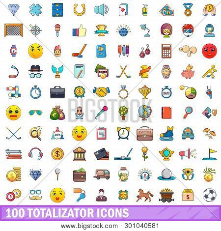 100 Totalizator Icons Set. Cartoon Illustration Of 100 Totalizator Icons Isolated On White Backgroun