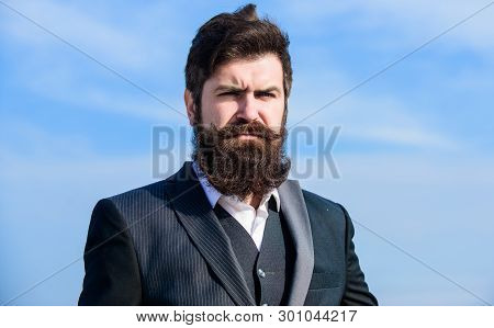 Outdoor Portrait. Future Success. Male Formal Fashion Portrait. Mature Hipster With Beard. Brutal Ca