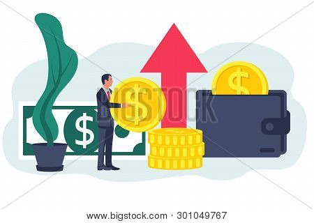 Funding Concept. Vector Illustration Flat Design. Isolated On White Background. Business Assistant.
