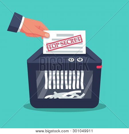 Document Top Secret In Hand For Destruction. Shredder Machine. Paper Shredder. Cartoon Style. Vector