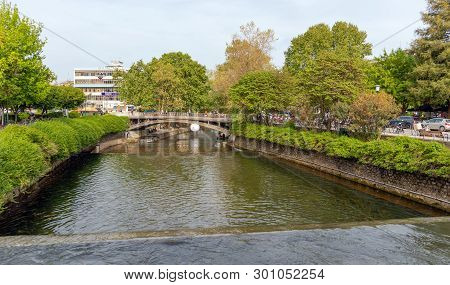 Trikala, Greece - April 26: Litheos River And Central Bridge On April 26, 2019 In Trikala, Greece. T