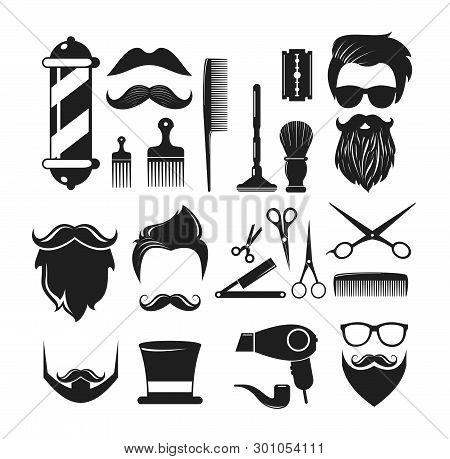 Vector Illustration Set Of Barber Shop Icons. Barber Shop Logo Elements, Labels, Badges In Vintage S