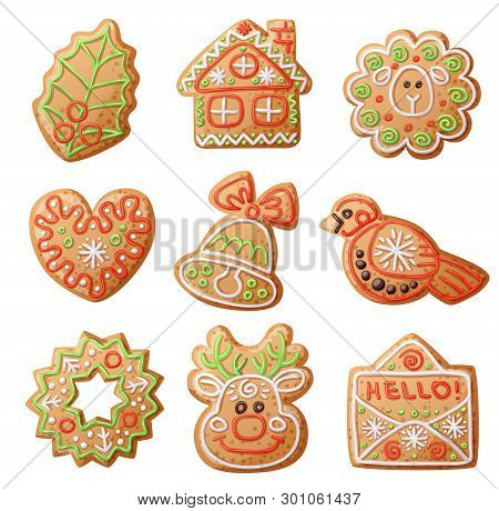 Gingerbread Cookies Set Isolated On White Background. Decorative Holly Leaf, House, Sheep, Heart, Ha
