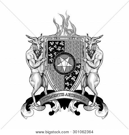 Coat Arms Crest Heraldry Hell Devil Demon Satan Lucifer Antichrist