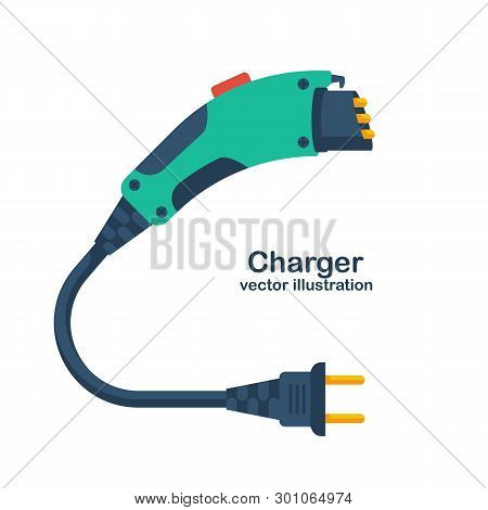 Electric Car Charger Isolated On White Background. Eco Fuel. Vector Illustration Flat Design. Electr