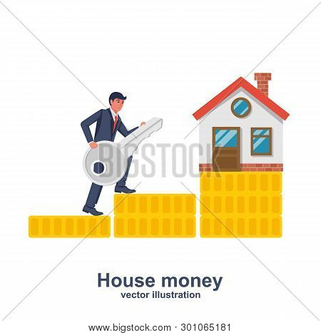 The Seller With The Key Runs On A Stack Of Coins For Sale At Home. House Keys In Hand Seller. Vector