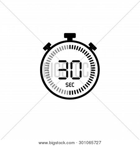 The 30 Seconds, Stopwatch Vector Icon, Digital Timer. Clock Watch, Timer, Countdown Symbol