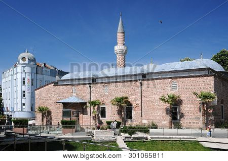 Plovdiv, Bulgaria - May 3, 2019: View Of Dzhumaya Mosque In The Springtime
