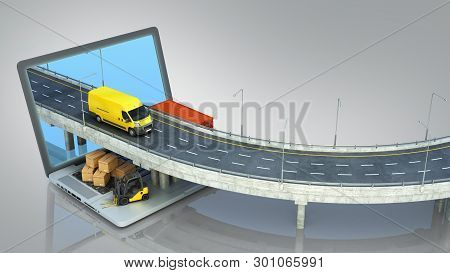 Transportation Concept Road From The Laptop On The Road Going Truck There Are Boxes And A Loader On