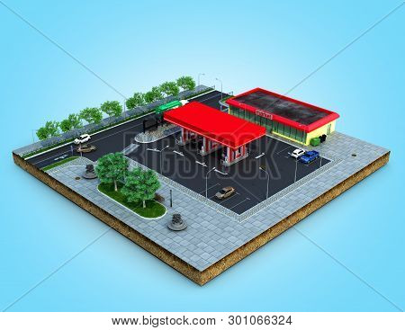Piece Of Land Gas Station With Parking On The Ground 3d Render On Blue Gradient