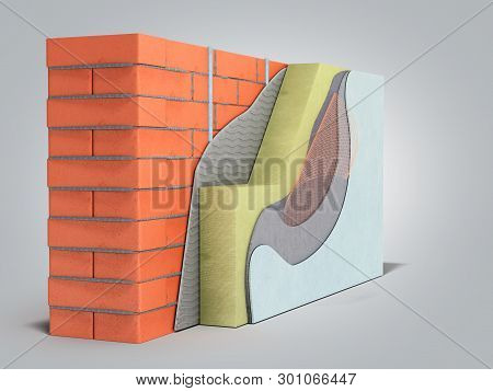 Layered Brick Wall Thermal Insulation Concept 3d Render On Grey Gradient Background
