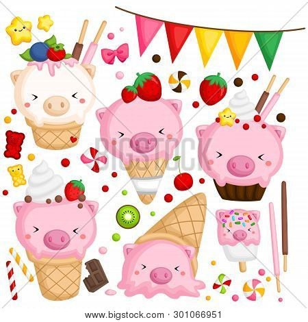 A Vector Of Many Ice Cream With Cute Pig On Top