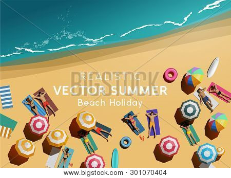 Beach Lifestyle Holiday Background. People Friends And Couples Relaxing On A Beach. Top Aerial View.