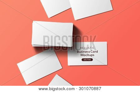 Top View Mockup Template Of Business Cards For Adding A Brand Or Identity With Shadows.