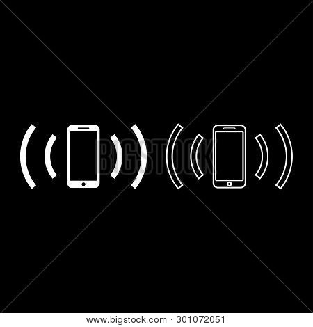 Smartphone Emits Radio Waves Sound Wave Emitting Waves Concept Icon Outline Set White Color Vector I