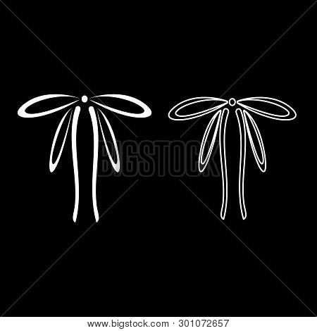 Bow with ribbons Adornment packing concept Tape curl bow gift decorative present icon outline set white color vector illustration flat style image poster