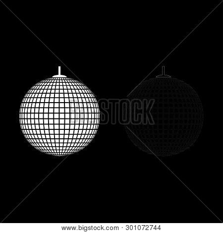 Disco sphere suspended on line rope Discotheque ball Retro night clubs symbol Concept nostalgic party icon outline set white color vector illustration flat style image poster