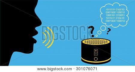 Silhouette of person speaking to confused smart speaker. Digital assistant translatinig commands into bytes of data - artificial intelligence and machine learning. poster