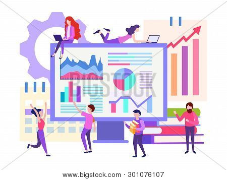 Vector Illustration Of Business Concept, Office Workers Are Studying The Infographic, The Analysis O