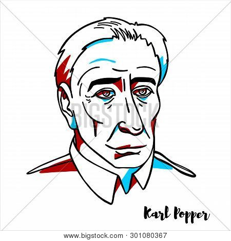 Russia, Moscow - March, 21, 2019: Karl Popper Engraved Vector Portrait With Ink Contours. Austrian-b