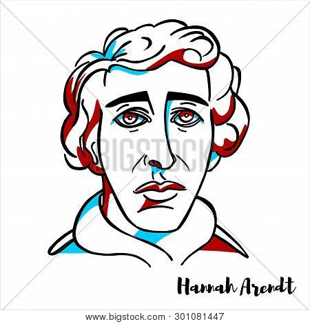 Russia, Moscow - March, 29, 2019: Hannah Arendt Engraved Vector Portrait With Ink Contours. American