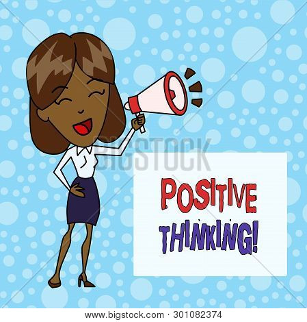 Word Writing Text Positive Thinking. Business Concept For Mental Attitude In Wich You Expect Favorab
