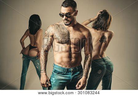 Seductive And Charming. Seductive Man Seducing Sensual Women. Sexy Hispanic Man With Seductive Look